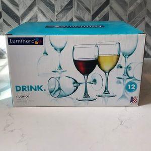 Set of 12 Luminarc wine goblet glasses